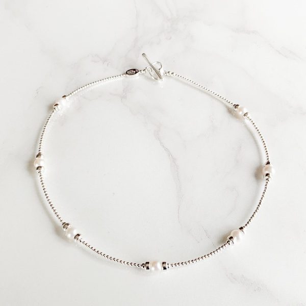 Pearl Spaced Skinny Necklace