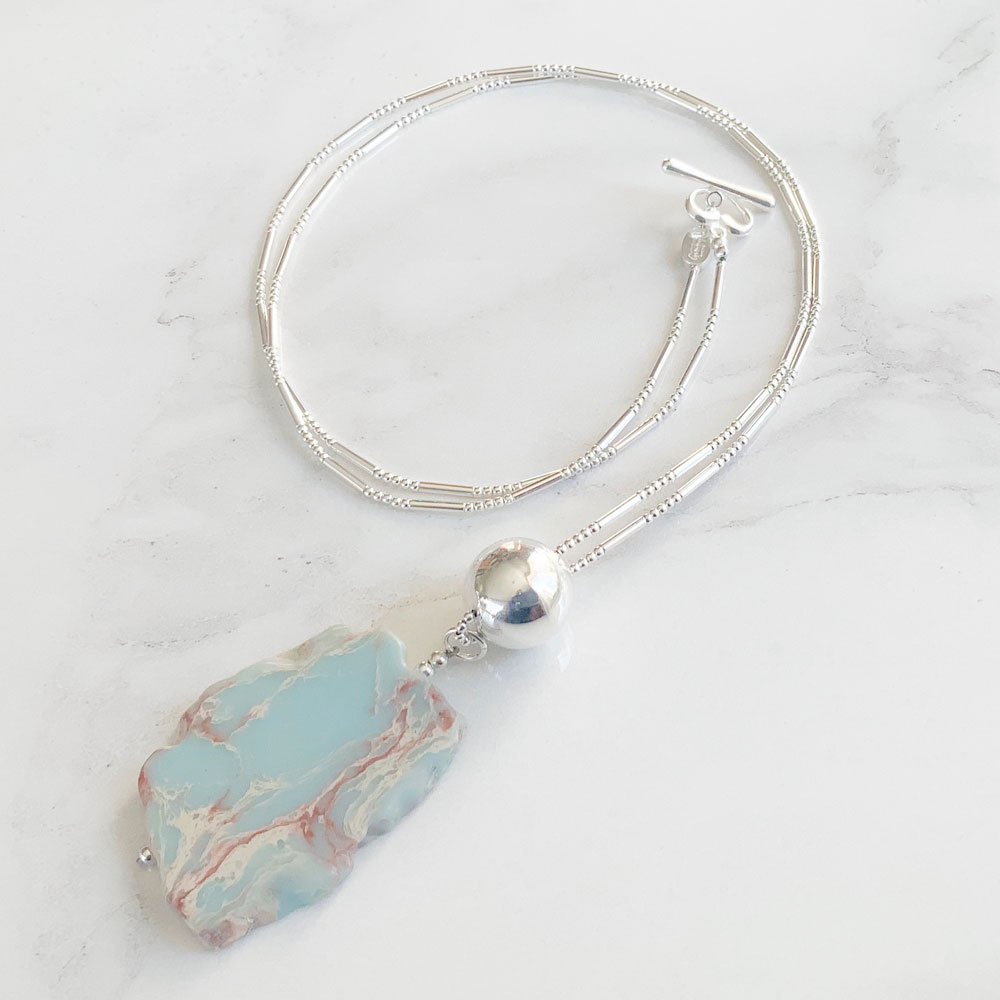 Blue Jasper Long Necklace