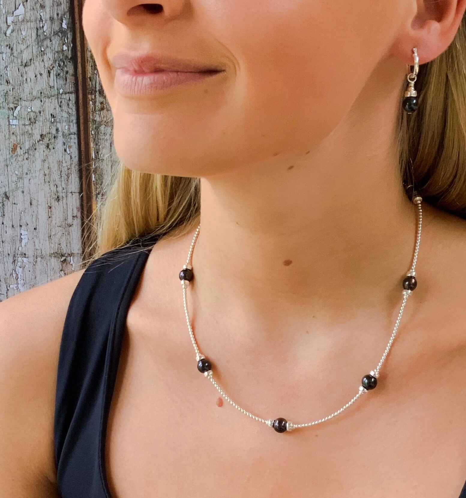 Black Pearl Spacer Necklace