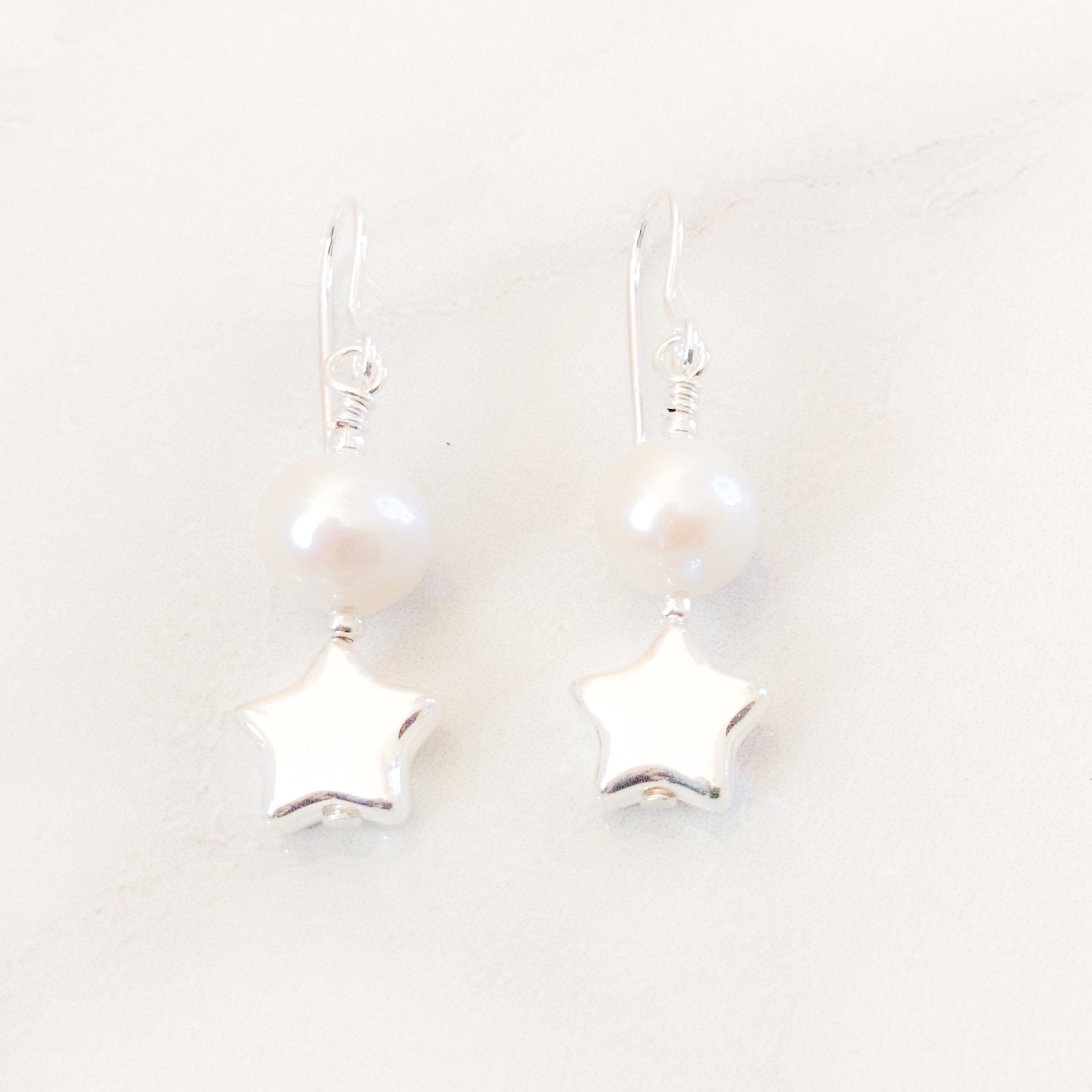 Star Pearl Drop Earrings