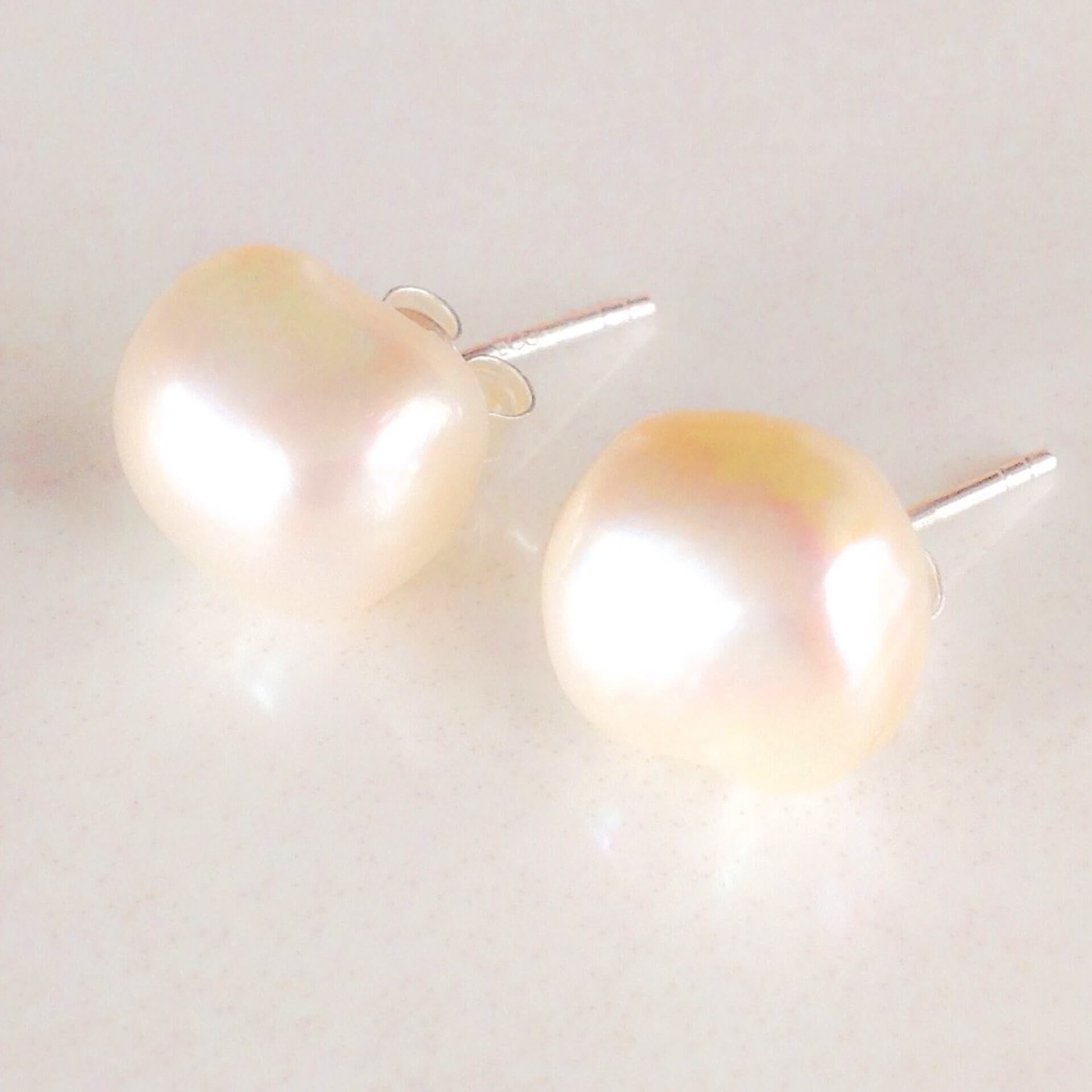 Large Baroque Pearl Stud Earrings